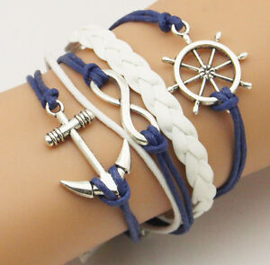 Navy Blue & White Cord Bracelet - Anchor Infinity Charms Nautical Jewellery
