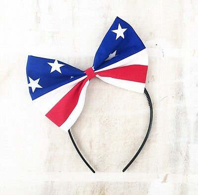 Red, white, blue stars and stripes oversized bow headband Rockabilly Pin up