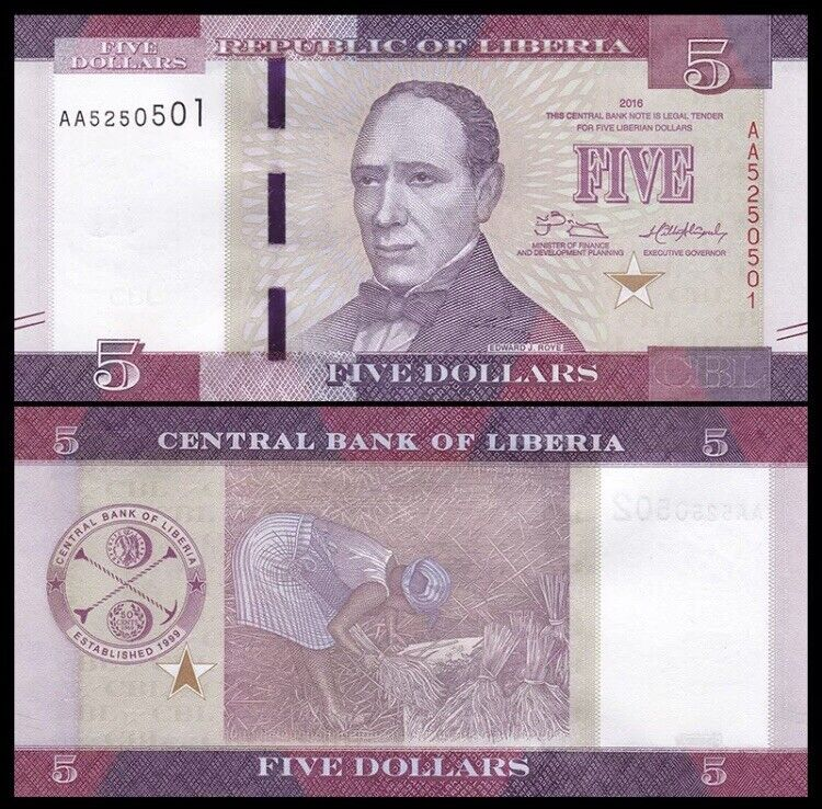 LIBERIA 5 Dollars, 2016, P-31b, UNC World Currency