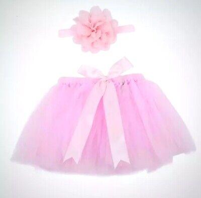 Pink Chiffon Tutu Headband Photo Prop Set Newborn Infant Baby Princess Outfit - Headband Kit