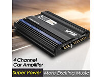 3800 Watts RMS 4 Channel 12V Car Audio Power Amplifier Amp Aluminum Alloy Black New