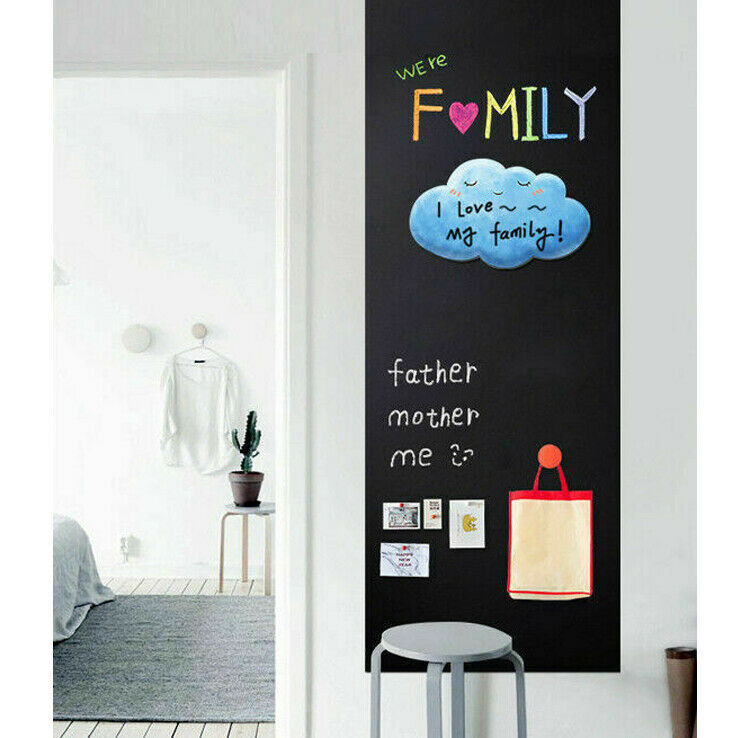 2x Tafelfolie selbstklebend 45 x 200 cm Kreide Folie Wanddeko zuschneidbar Black