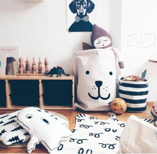 Large Baby Toys Storage Canvas Bags Bear Laundry Hanging Dra