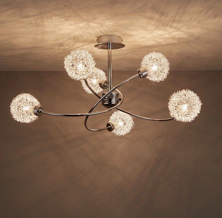 B Q Caelus Chrome Effect 6 Lamp Ceiling Light