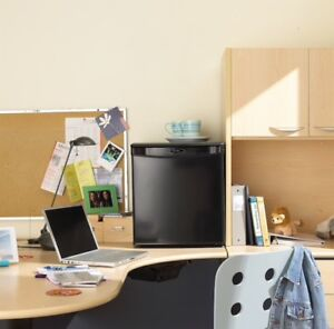 black danby designer 1.7 cf mini-fridge and matching microwave