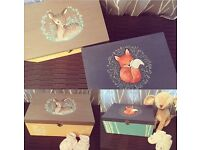 Custom hand painted wooden boxes