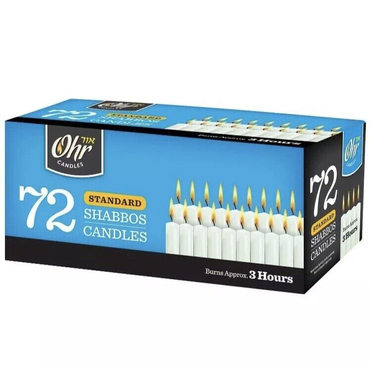 White Candles 12 Pack Yehuda Shabbos Candles