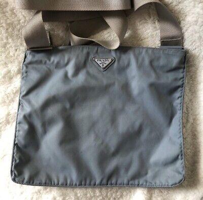 Nice Prada Argento light blue Nylon Messenger Crossbody bag