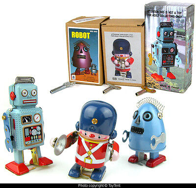 3 mechanical tin wind-up toys Marching Band Soldier & robots all with boxes