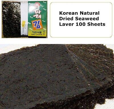 Premium 100 Sheets Korean Dried Laver Parae Seaweed for Sushi, Gimbap, Nori