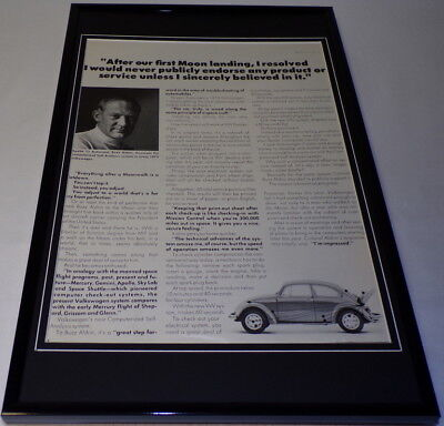 Buzz Aldrin 1972 Volkswagen Framed 11x17 ORIGINAL Vintage Advertising Poster