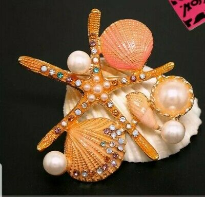 New Betsey Johnson Yellow Enamel Starfish Shell Pearl Crystal Charm Brooch Pin ()