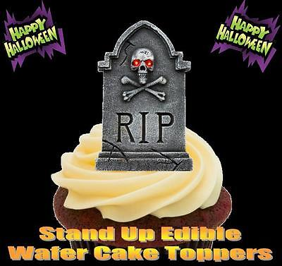 NOVELTY Halloween RIP Gravestone Skull STAND UP Icing Edible Cake Toppers Spooky](Rip Halloween Cake)