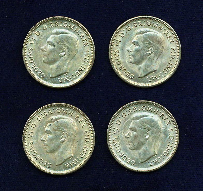AUSTRALIA GEORGE VI  1943-S 1 SHILLING SILVER COINS, VERY NICE GROUP LOT OF (4)