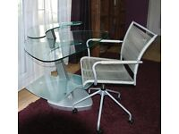 CONTEMPORARY GLASS DESK AND OFFICE CHAIR
