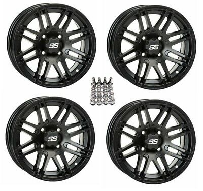 "ITP SS316 ATV Wheels/Rims Matte Black 14"" Yamaha Grizzly Rhino (4) for sale  Middleport"