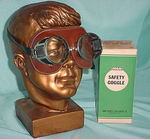 New Vintage MSA Mine Safety Appliance Goggles Glasses Steam Punk Motorcycle Eye