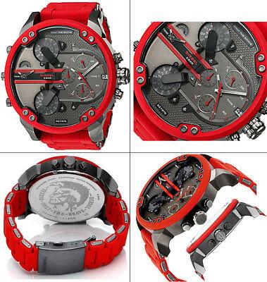 Diesel Dz7370 Mr  Daddy 2 0 Gunmetal Dial Red Silicone Strap Mens Watch