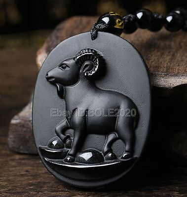100% Natural Black Obsidian Carved Chinese Zodiac Sheep Pendant + Beads Necklace Chinese Sheep Zodiac Pendant