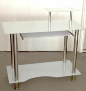 Computer desk,temp glass stainless steel new in box