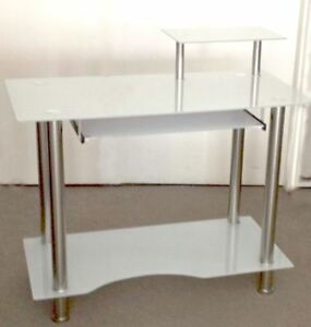 Computer desk,temp. glass/Stainless steel pipe