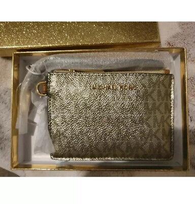 Michael Kors Metallic Signature Jet Set Leather Wristlet Coin Purse - Acorn gold