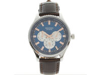 Men Watch Sekonda Gents Chronograph Blue Dial Watch Brown Crocodile Skin Effect Strap 1186