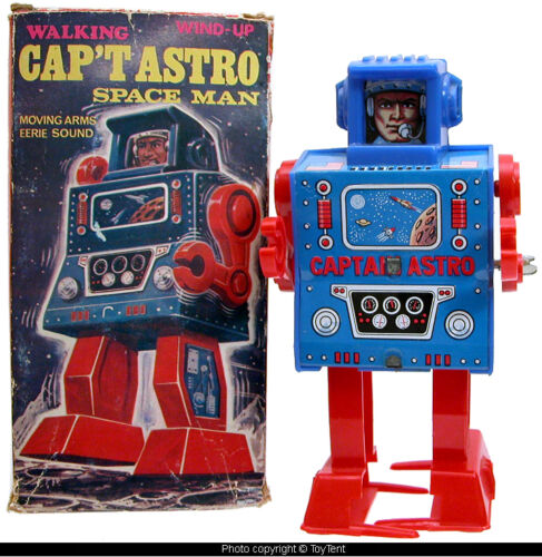 Captain Astro mechanical walking space man robot Mego Japan with original box