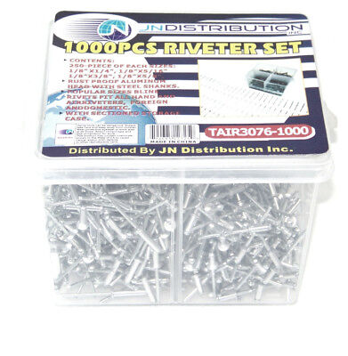 1000 PCS RIVETS FOR AIR AND HAND RIVETER GUN ASSORTMENT AJ