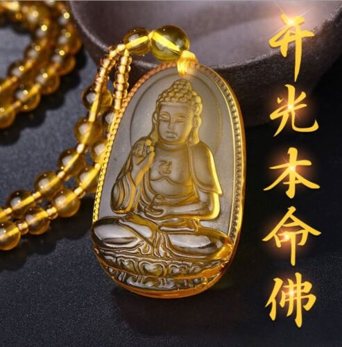 Citrine Guardian Buddha Pendant Amilet / FengShui Wealth Fortune Necklace