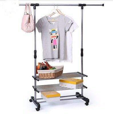 Double Collapsible Adjustable Rolling Wheel 2 Cloth Shoe Garment Hanger Rack