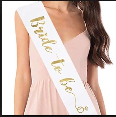 BRIDE TO BE SASH! White and Gold! BRAND NEW! FREE SHIPPING. FROM USA! - Bride To Be Sash