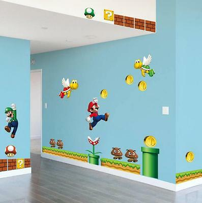 NEW Super Mario Bros Removable Wall Stickers Decal Kids Home Decor ship from U.S ()