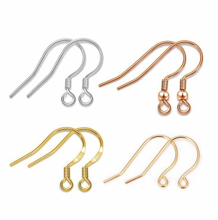 50Pcs 925 Sterling Silver Diy Earring Hooks Ball Jewelry Accessory Ear Wire KW