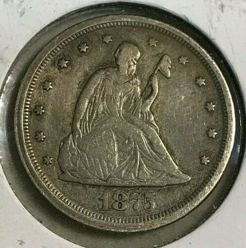 1875-S Seated Liberty 20c Twenty Cent Piece Silver Coin VF