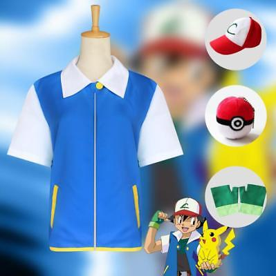 Costume Pokemon Shirt Ash Hat Ketchum Trainer Gloves + Cosplay Jacket (Ash Cosplay Pokemon)