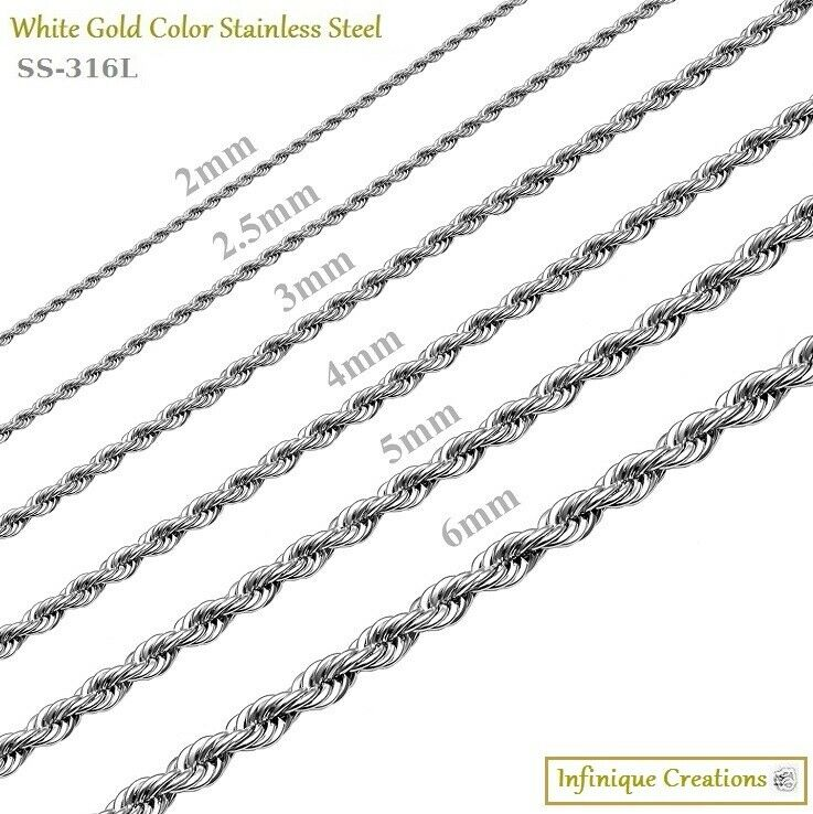 Jewellery - Stainless Steel Silver Rope Chain Bracelet Necklace Men Women 2mm to 8mm