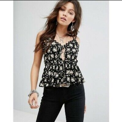 BNWOT Honey Punch Black Cami Top with Lace Ruffle Trim In Floral Print Size...