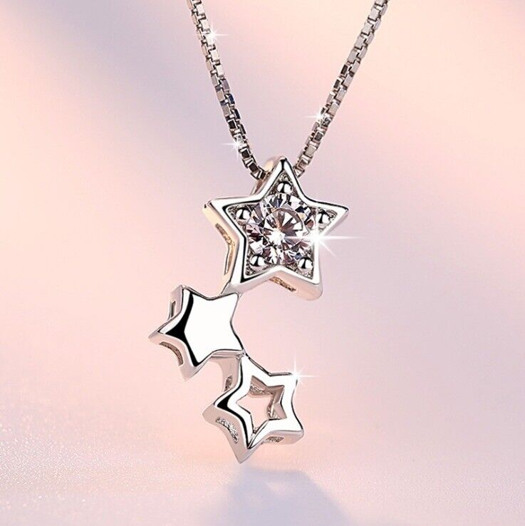 Jewellery - Star Linked Multi Pendant 925 Sterling Silver Chain Necklace Womens Jewellery