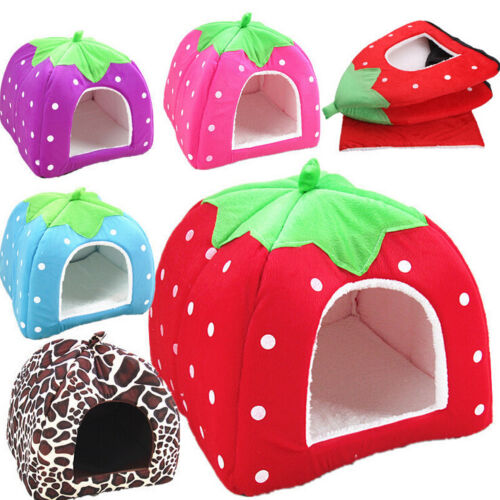 Soft Strawberry Pet Dog Cat Bed House ...