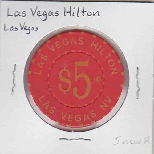 Vintage $5 chip from the Las Vegas Hilton Casino, Las Vegas