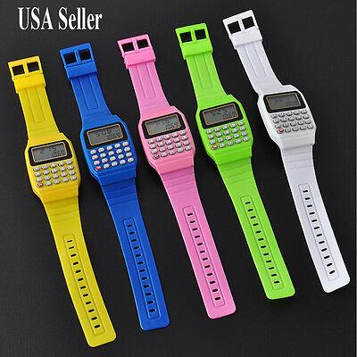 Fashion Time Date Sport Child Kid Boy Girls Electronic Calculator Wrist Watch