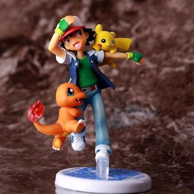 Kids Ash (4.1''Pokemon Pocket Monster Ash Ketchum Pikachu Charmander Action Figure)