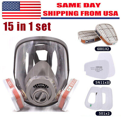 15in1 Gas Mask Filter Full Face Facepiece Respirator For 6800 Safety Equipment