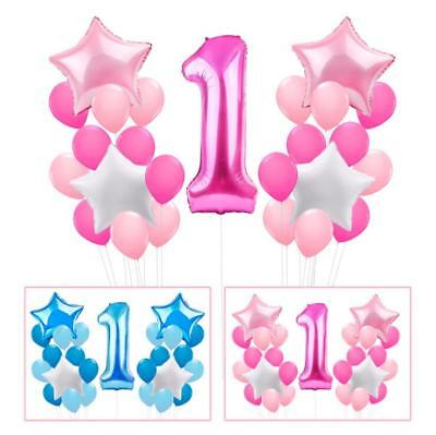 25Pcs 1st Happy Birthday Balloons Boy Girl Baby Shower Party Decoration Set