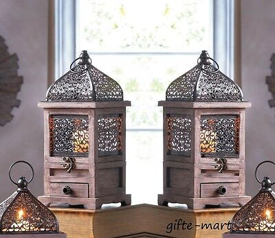 "2 rustic brown wood & metal cage Moroccan 14"" Candle holder Lantern light lamp"