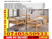 SINGLE AND DOUBLE WOODEN BUNK - BED WITH MATTRESS Cotati