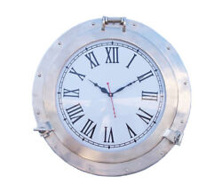 Ship Cabin Porthole Clock Brushed Nickel Finish 20 Aluminum Nautical Wall Decor