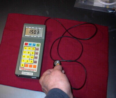 Panametrics Ultrasonic Thickness Gage 22dl W Probe Charger Cal Block Extra