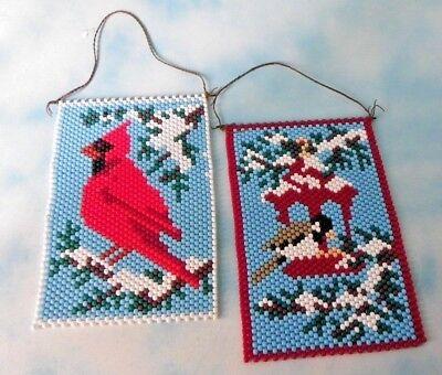 "Large Plastic Beads Wall Art Craft Bird Design Hanging Decor 14""X 10"""